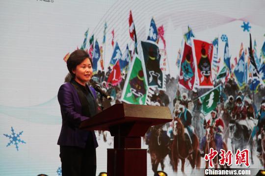 图为呼伦贝尔市长姜宏在发布会上致辞。 张玮 摄