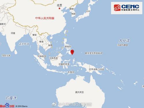 棉兰老岛附近海域发生5.7级地震震源深度70千米