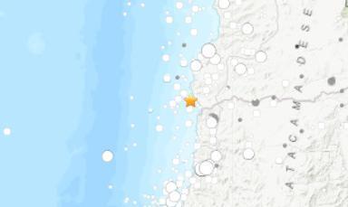 智利海岸附近发生里氏5.6级地震无人员伤亡消息