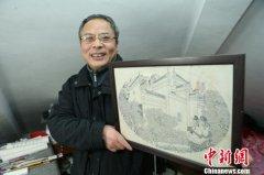 上海一名保安十余年潜心绘画 长卷