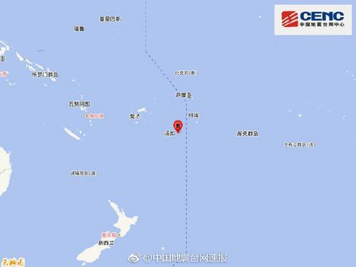 汤加群岛发生5.5级地震震源深度10千米