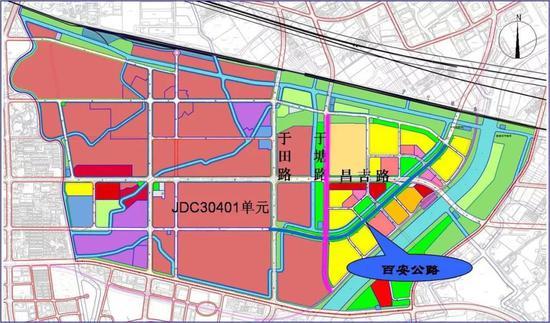 百安公路(于田路-和静路)、于塘路(雅丹路-和静路)位置示意图